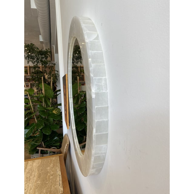 Modern Natural Onyx Round Mirror For Sale - Image 3 of 7