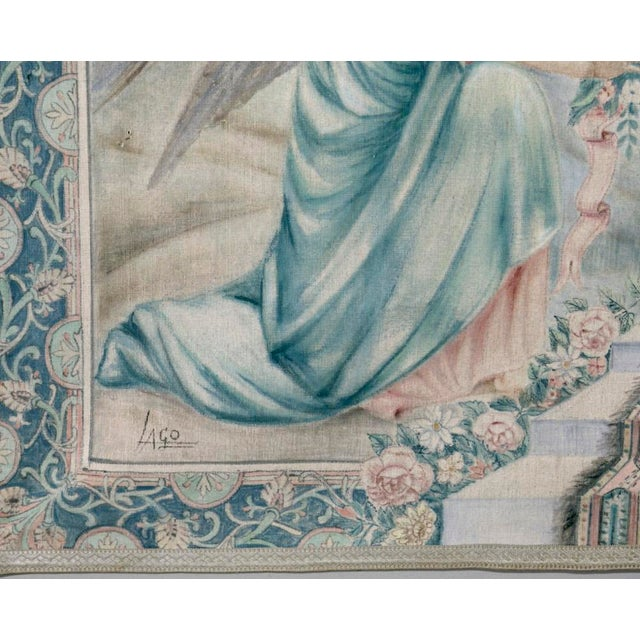 White Antique Italian Sucre De Herb Tapestry For Sale - Image 8 of 9