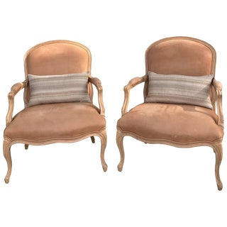 Kreiss Blush Faux Pigskin Bergere Chairs - a Pair For Sale