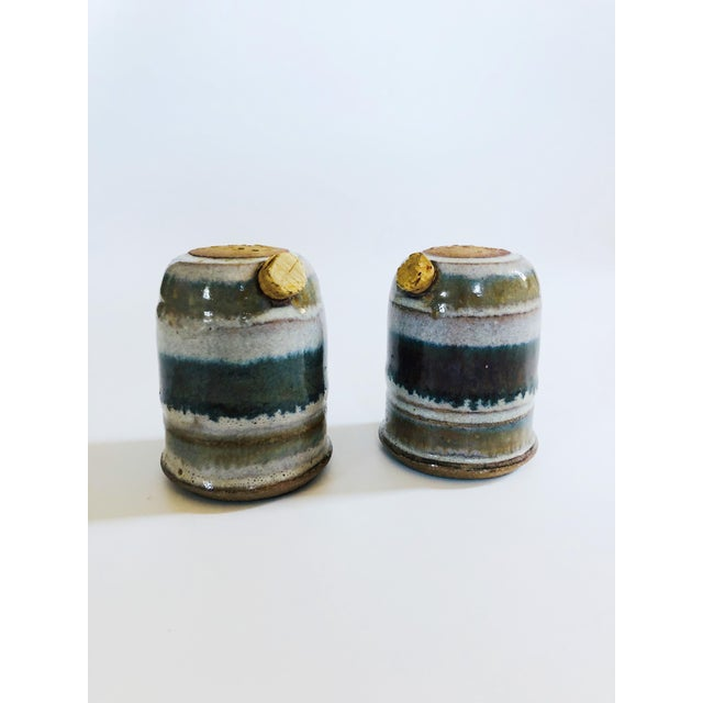 Mid-Century Modern Vintage Mid-Century Stoneware Studio Pottery Salt and Pepper Shakers - a Pair For Sale - Image 3 of 8