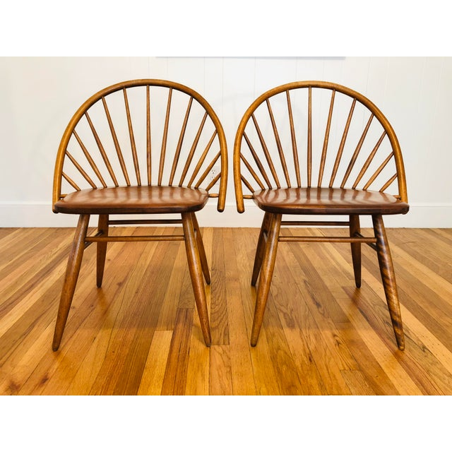 Conant Ball Vintage Mid Century Russel Wright for Conant Ball Windsor Style Maple Chairs- A Pair For Sale - Image 4 of 10