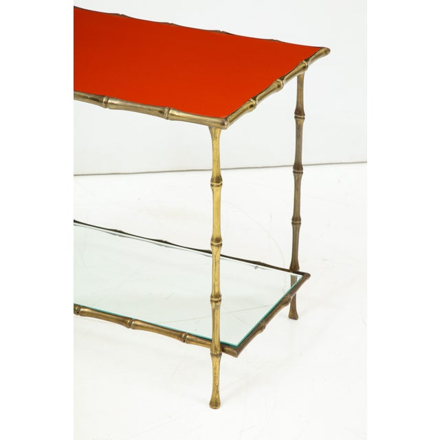 French Solid Bronze Faux Bamboo Side Table by Maison Baguès, France, 1960s For Sale - Image 3 of 10