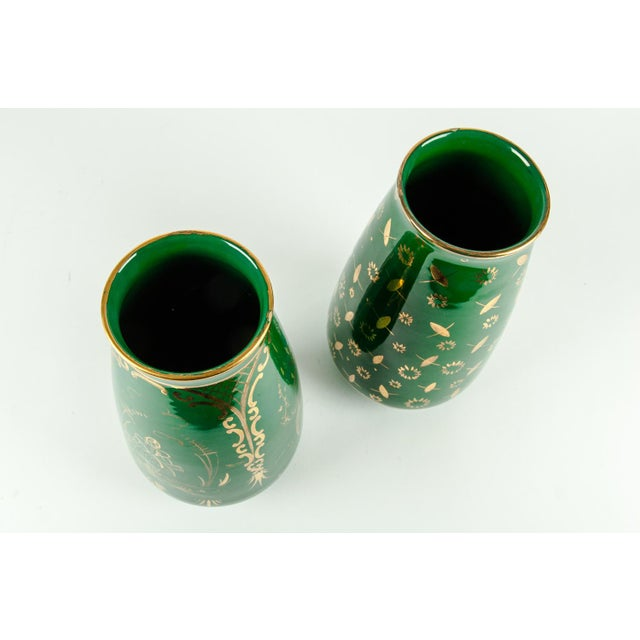 Vintage Italian Green Porcelain Decorative Vases - a Pair For Sale - Image 9 of 11