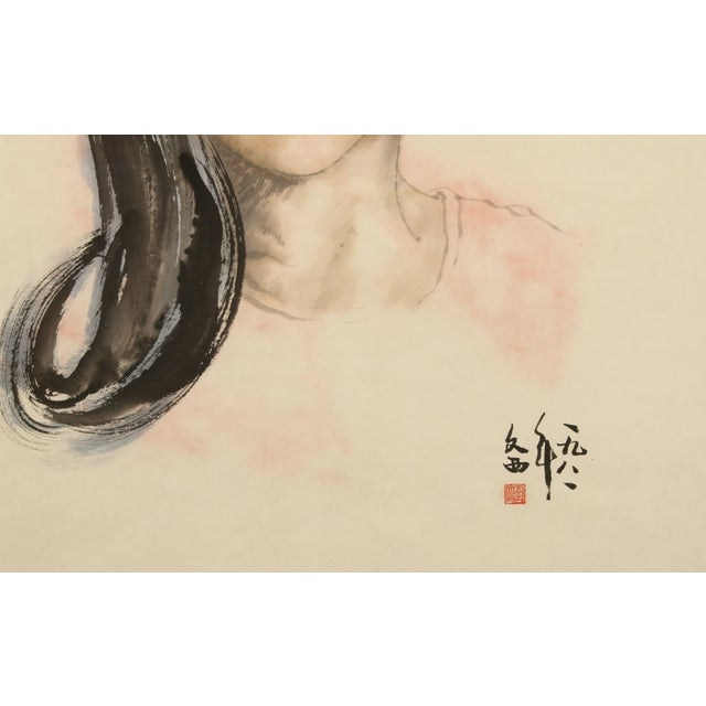 Chinese Portrait of a Woman on Scroll For Sale - Image 4 of 5