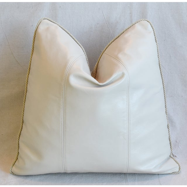 """Early 21st Century Creamy Italian Tanned Leather Feather/Down Pillows 21"""" Square - Pair For Sale - Image 5 of 13"""