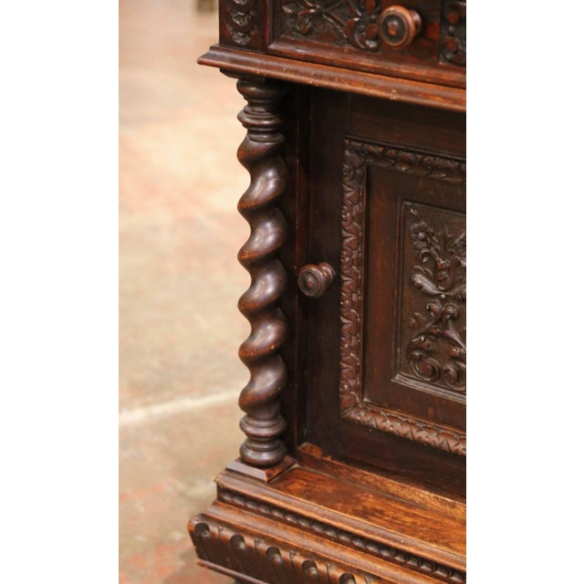 Pair of 19th Century French Carved Oak Nightstands With Marble Top For Sale - Image 4 of 13