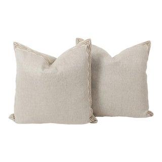 Oatmeal Serpentine Trim Pillows, a Pair For Sale