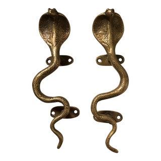 Gold Brass Cobra Door Handles - A Pair For Sale
