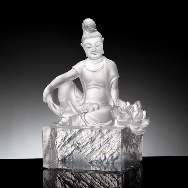 """This Limited Production statement Art Piece by LIULI Crystal Art is titled: """"A Flower Blooms"""" in Clear crystal. A..."""