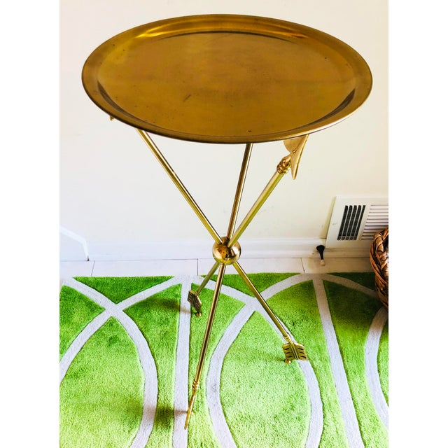 Hollywood Regency 1960s Vintage French Maison Jansen Brass Arrow Table For Sale - Image 3 of 6