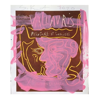 'Pink Face' Framed Picasso Poster Painting by Sean Kratzert For Sale