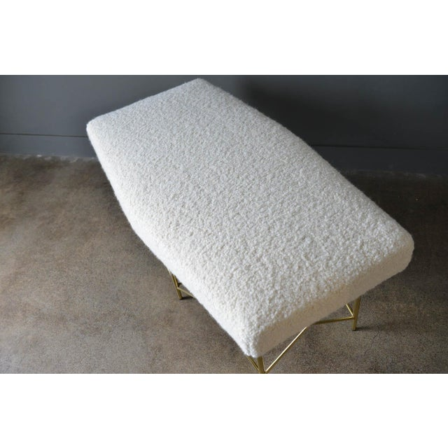 1970s Ivory Bouclé and Brass X-Base Ottoman Bench For Sale - Image 9 of 12