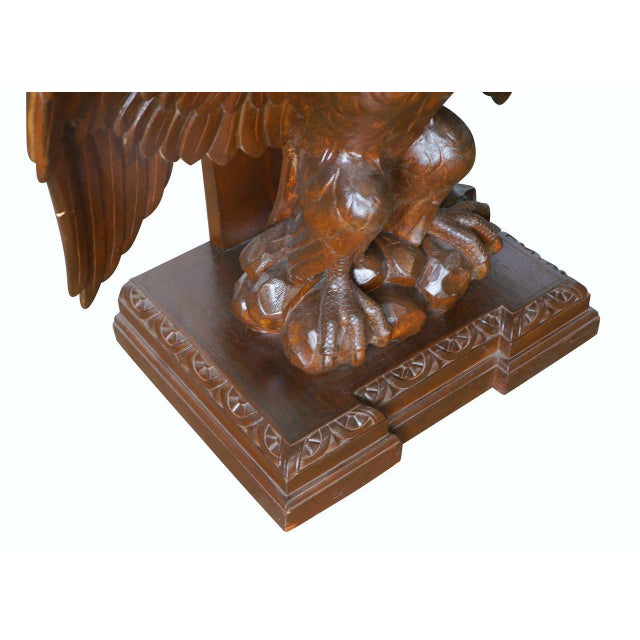 Wood American Neoclassical Hand-Carved Eagle Console Table, Pair Available For Sale - Image 7 of 7