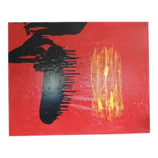 """Large Red and Black Abstract Oil and Mixed-Media Painting """"Pinga Pinga"""" For Sale"""