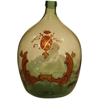 Large Handblown Demijohn Glass Bottle From France With Painted Coat of Arms For Sale