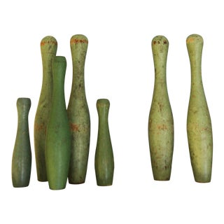 Mid 20th Century Vintage Wooden Mini Bowling Pins - Set of 7 For Sale
