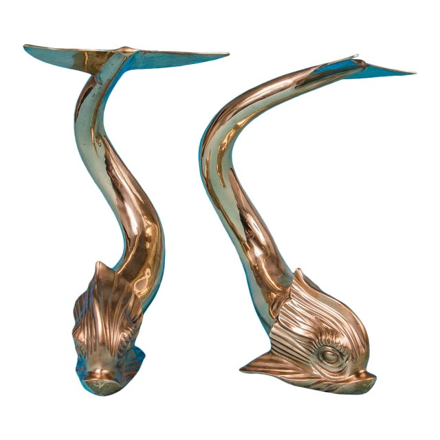 Vintage 1987 Monumental Brass Dolphin Fish by Dolbi Cashier - a Pair For Sale