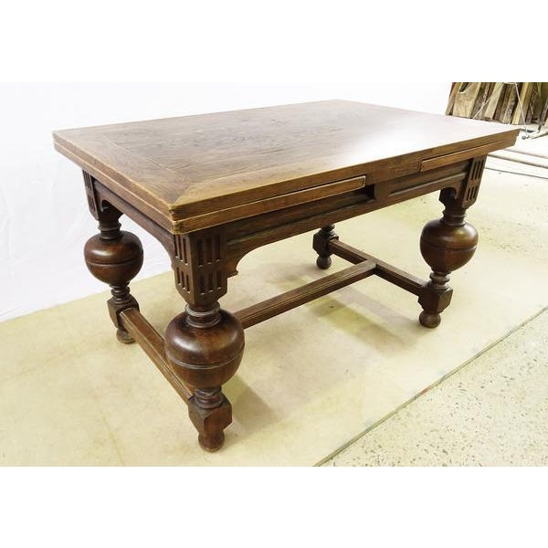 Extending Antique French Solid Oak Jacobean Style Dining Table For Sale - Image 4 of 13
