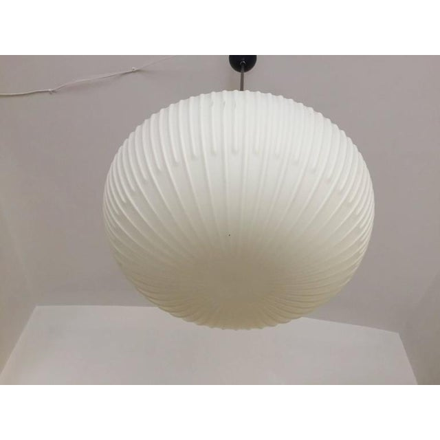 White Opaline Glass Pendants with Structured Spheres For Sale - Image 8 of 10
