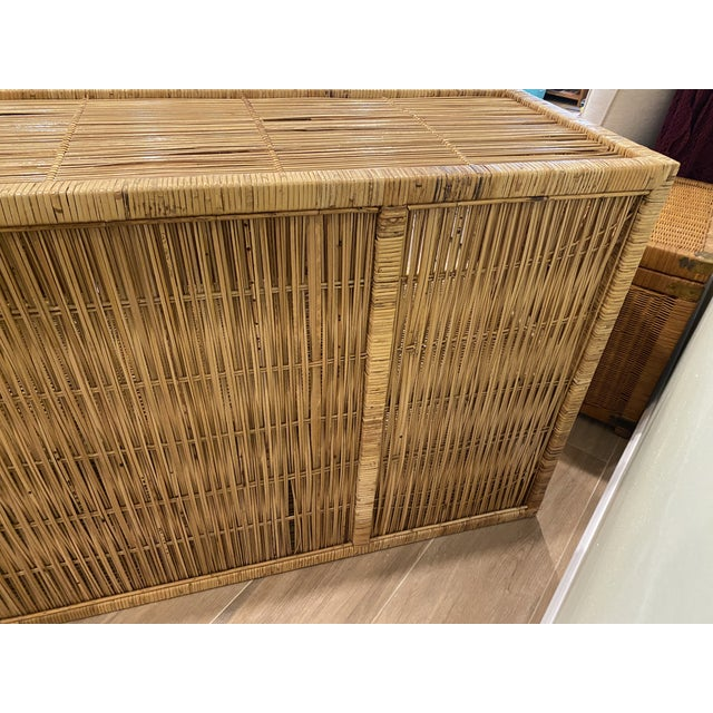 Gold Vintage Palm Beach Boho Chic Wicker Rattan Shelving Unit For Sale - Image 8 of 12