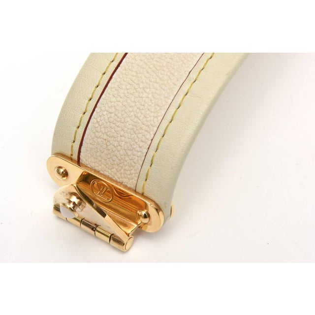 Metal Louis Vuitton Leather and Gold Plated Brass Hardware Cuff Bracelet For Sale - Image 7 of 11