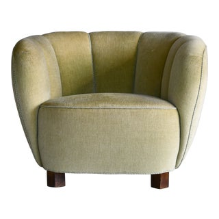 Danish 1940s Banana Style Low Club or Lounge Chair in Original Mohair For Sale