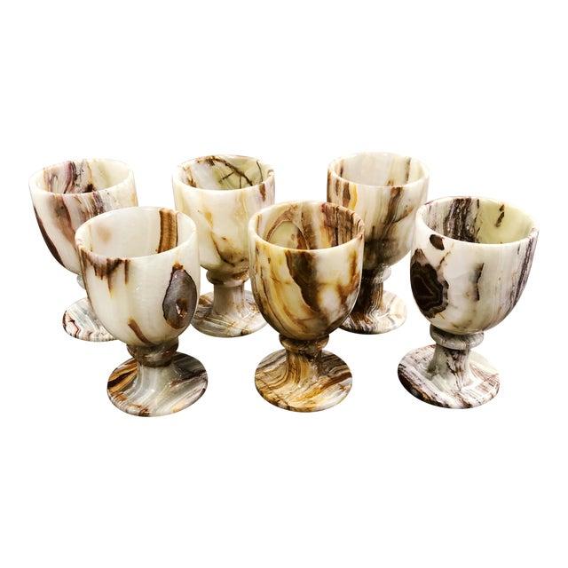 Carved Onyx Goblets, Set of 6 For Sale