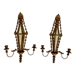 Vintage Carved and Giltwood Italian Mirror Candelabra Sconces - a Pair For Sale