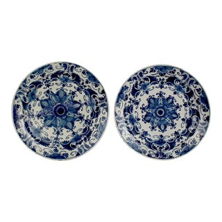 Large Matched 18th Century Blue and White Delft Chargers or Wall Plates - A Pair For Sale