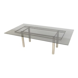Modernist Tobia Scarpa for Knoll Large Andre Glass & Chrome Dining Table For Sale