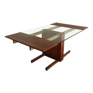 1960s Mid Century Vladimir Kagan Cubist Walnut Extension Dining Table For Sale