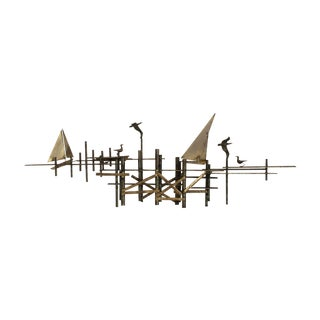 "Large Scale ""The Pier"" Brass Sculpture by C. Jere"