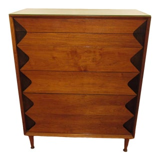 Mid 20th Century Marc Berge for Grosfeld House Walnut Highboy Dresser For Sale