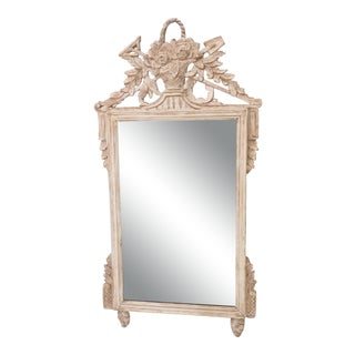 Vintage French Carved Louis XVI Style Whitewashed Mirror For Sale