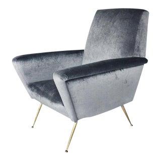 Mid-Century Modern Velvet Italian Armchair For Sale