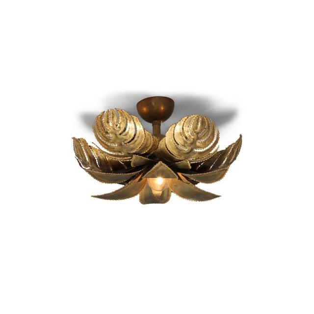 Maison Jansen Regency Brass Palm Chandelier For Sale - Image 9 of 9