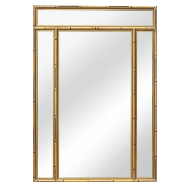 Gold Faux Bamboo Mirror - Image 1 of 7