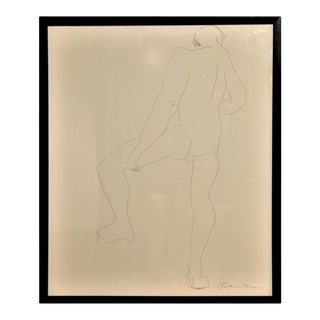 1960s Gertrude Barnstone Abstract Pen Contour Line Drawing of Male Nude Back with Raised Leg, Framed For Sale