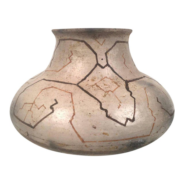 Hand-Painted Peruvian Shipibo Pottery Vase For Sale