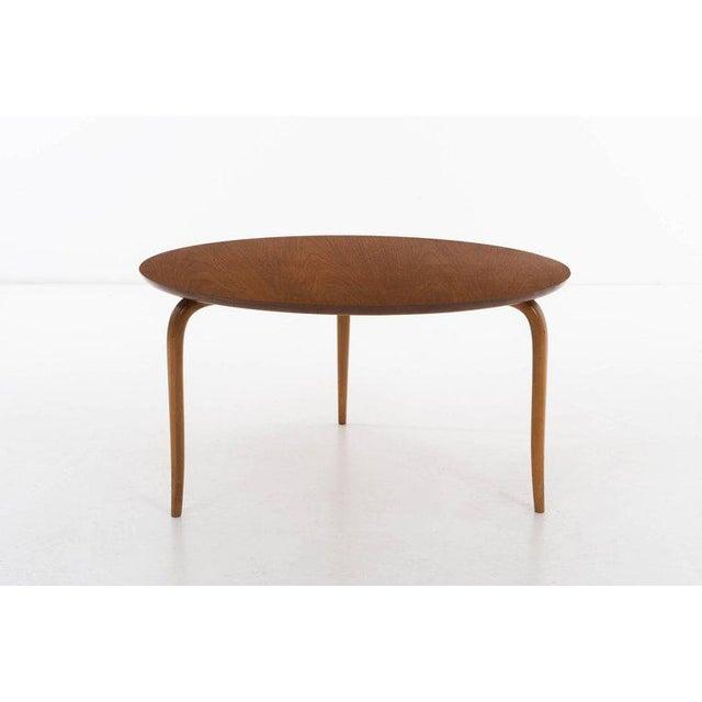 Bruno Mathsson teak side table by Firma Karl Mathsson. Incised [Burno Mathsson Design - Made In Sweden - Firma Karl Mathsson.