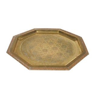 1960s Moroccan Brass Octagonal Tray For Sale