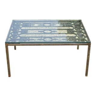 Vintage Wrought Iron Arts & Crafts Glass Top Art Nouveau Coffee Table For Sale