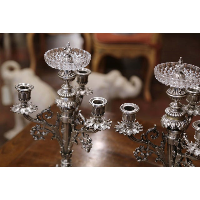 Late 19th Century Pair of 19th Century French Silvered Bronze Candelabras and Crystal Bobeche For Sale - Image 5 of 13