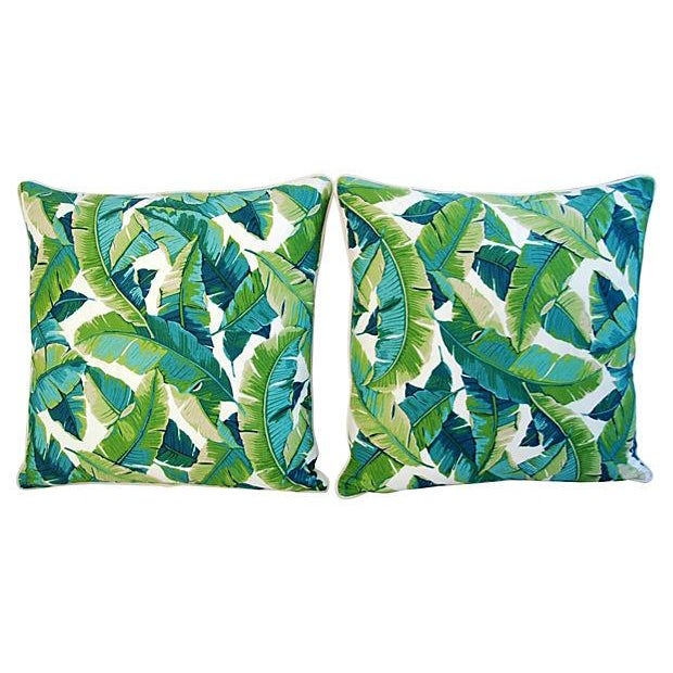 "24"" Square Custom Tailored Tropical Banana Leaf Feather/Down Pillows - Pair - Image 7 of 7"