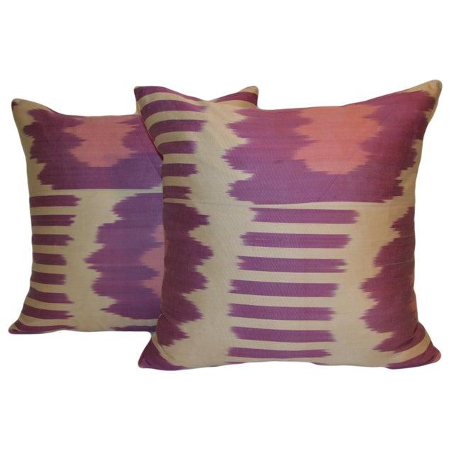 Fabric Ikat Pillows - A Pair - Image 2 of 3