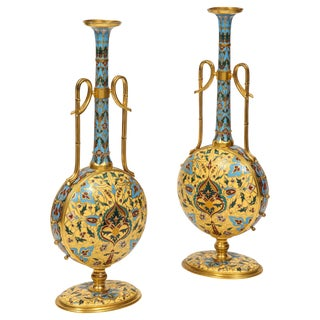 Extremely Rare Pair of Ferdinand Barbedienne Ormolu and Champlevé Enamel Vases For Sale