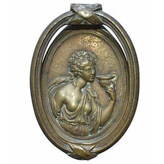 Lady With Flowers Bronze Door Knocker For Sale