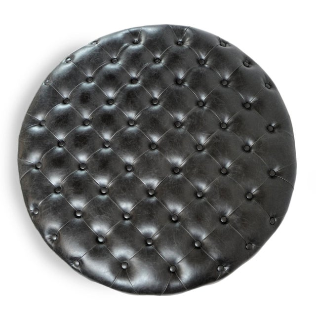 Tufted Leather Round Ottoman For Sale - Image 4 of 6