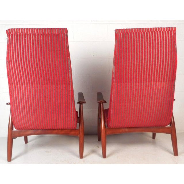 Mid-Century Modern High Back Walnut Lounge Chairs - A Pair - Image 6 of 9