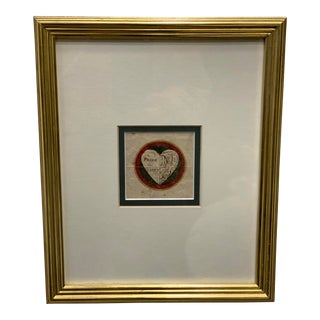 19th Century Colored Drawing of a Heart For Sale